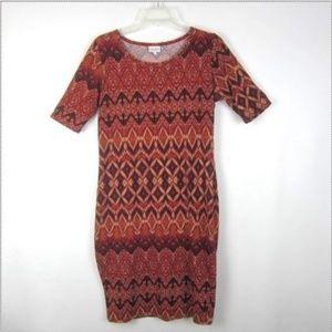 LuLaRoe Julia Dress M Chevron Red Orange Black